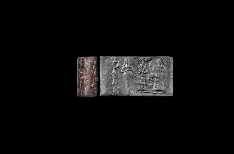 Western Asiatic Old Babylonian Cylinder Seal with Figures and Monkey