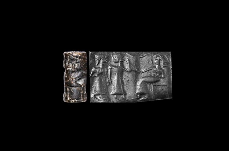 Western Asiatic Cylinder Seal with God and Attendants
