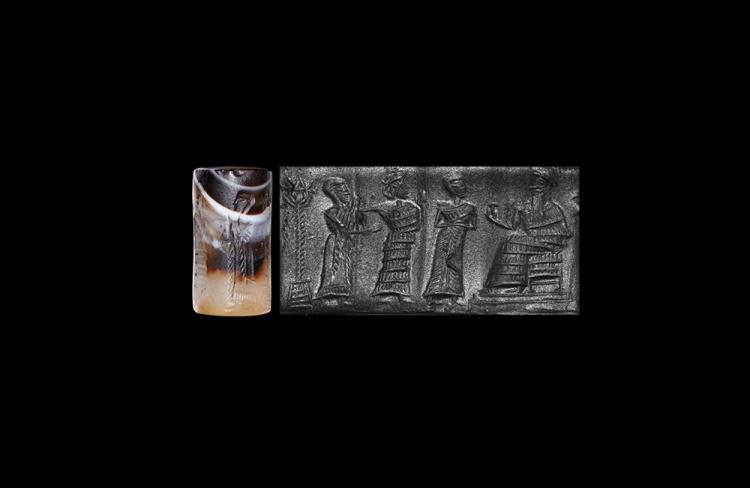 Western Asiatic Akkadian Figural Cylinder Seal