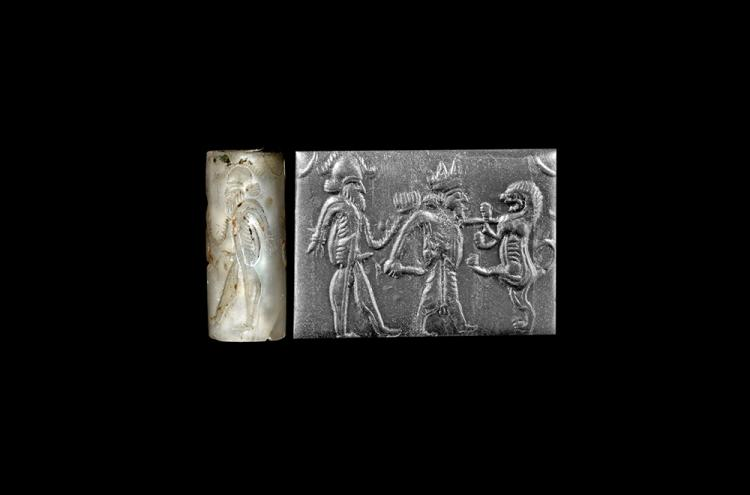 Western Asiatic Achaemenid Cylinder Seal with Hero Scene