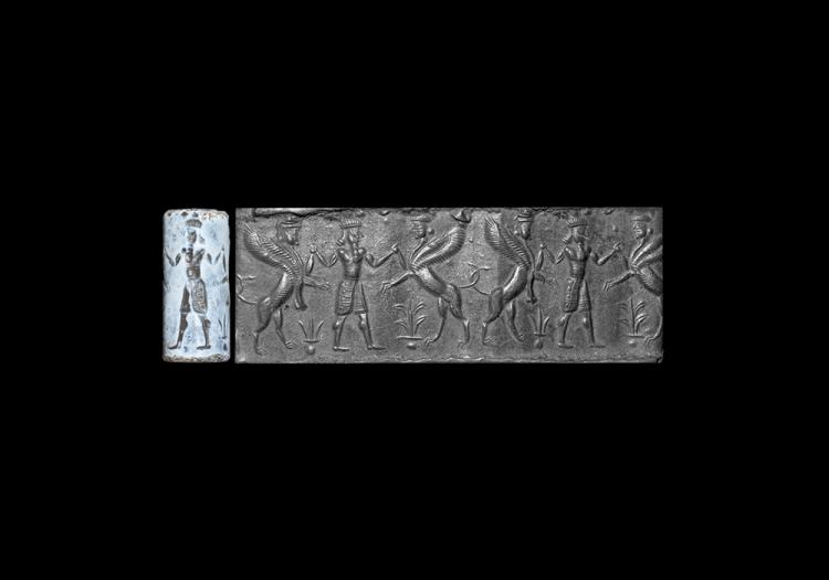 Western Asiatic Assyrian Chalcedony Cylinder Seal with Hero Scene