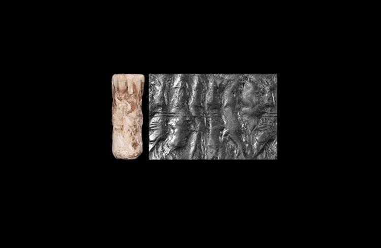 Western Asiatic Akkadian Cylinder Seal with Figures and Hero