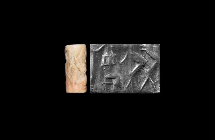 Western Asiatic Akkadian Cylinder Seal with Seated Figure