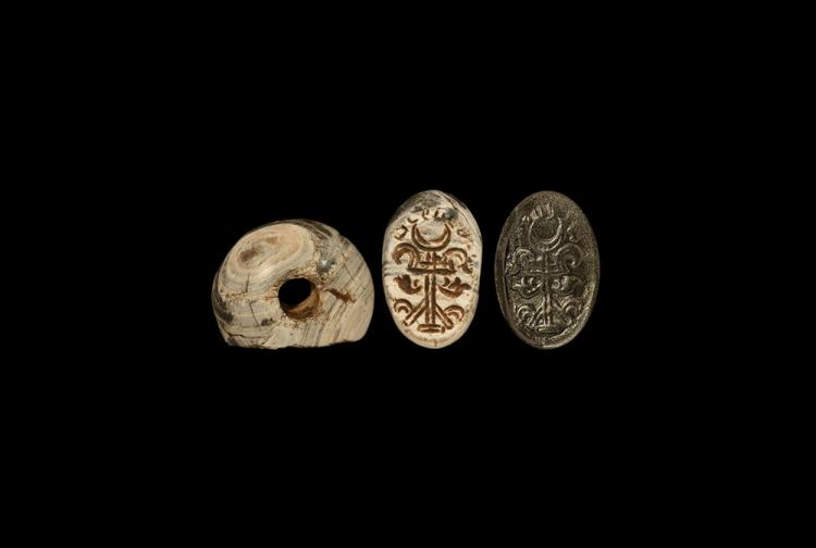 Western Asiatic Sassanian Stamp Seal with Standard
