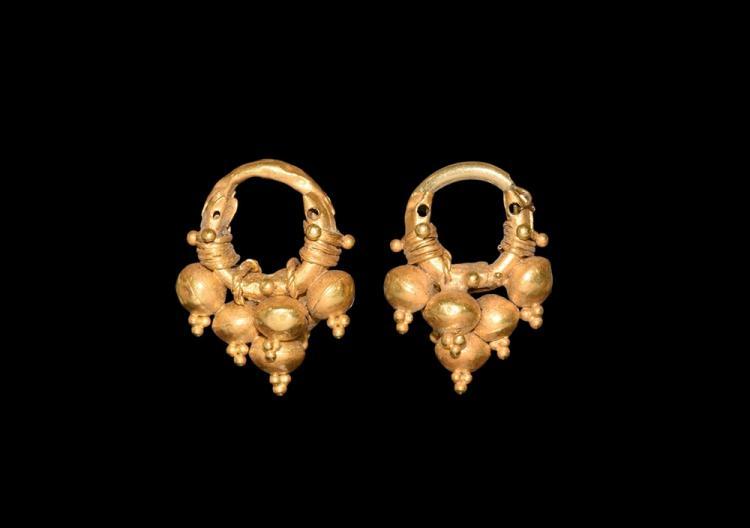 Western Asiatic Achaemenid Gold Earring Pair