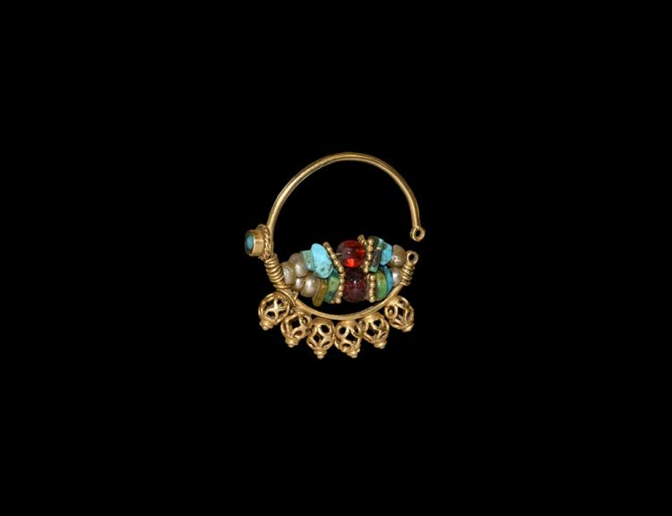 Western Asiatic Gold Earring with Beads