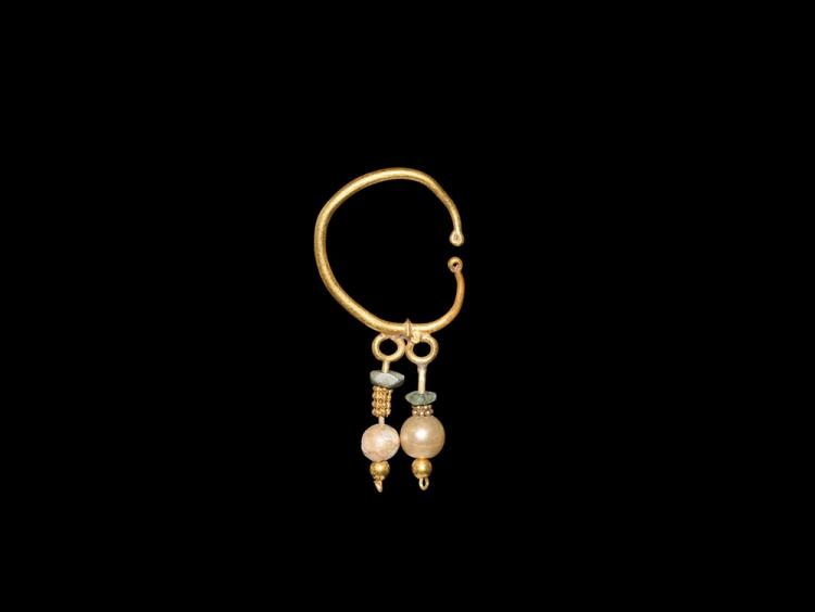 Western Asiatic Gold Earring with Pearl Drops