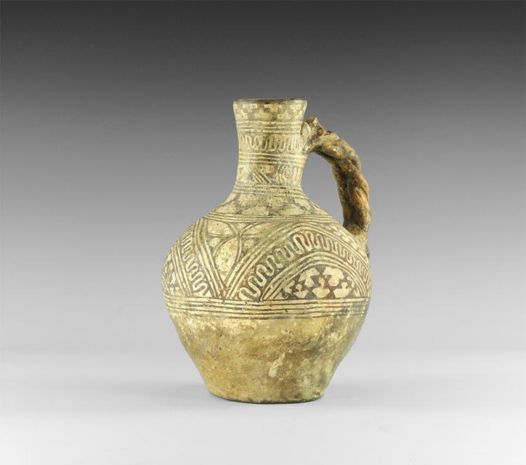 Western Asiatic Bichrome Jug with Plaited Handle