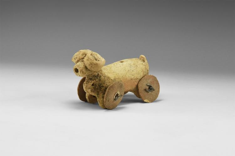 Western Asiatic Wheeled Bull Figurine
