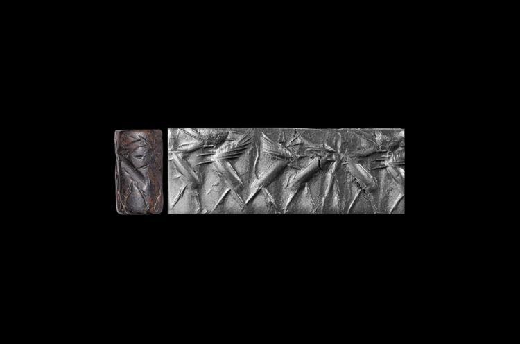 Western Asiatic Anatolian Cylinder Seal with Winged Beasts