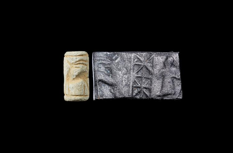 Western Asiatic Neo-Assyrian Cylinder Seal with Antelope and Figure