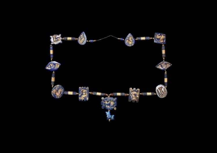 Western Asiatc Gold and 'Lapis' Bead Necklace
