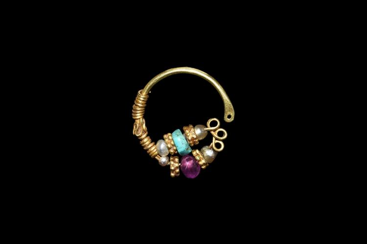 Western Asiatic Gold Beaded Earring