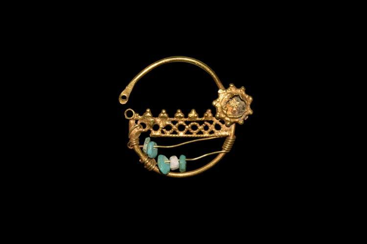 Western Asiatic Gold Beaded Earring