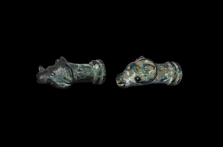 Western Asiatic Ram's Head Finial Pair