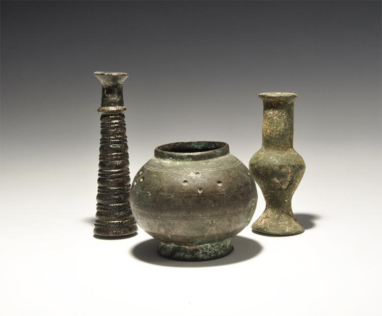 Western Asiatic Luristan Kohl Pot and Incense Burner Group