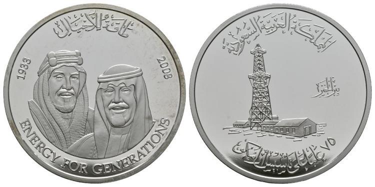 World Commemorative Medals - Saudi Arabia - Saudi Aramco 75th Anniversary Cased Silver Medallion