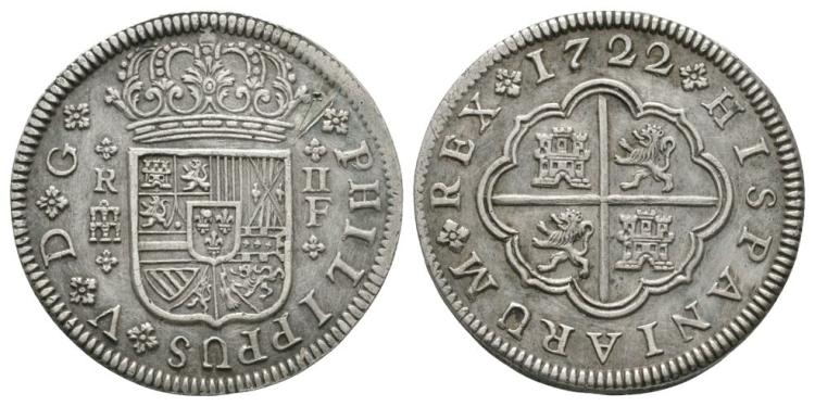 World Coins - Spain - Philip V - 1722 - 2 Reals