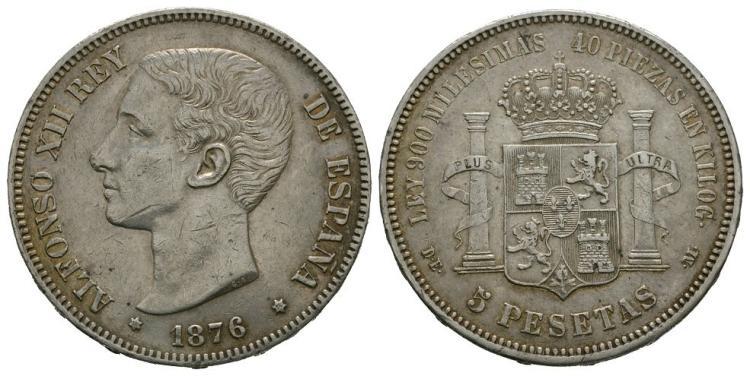 World Coins - Spain - 1876 - 5 Pesetas