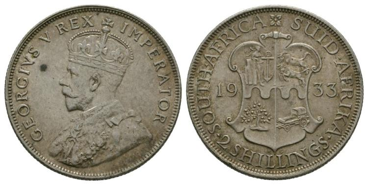 World Coins - South Africa - 1933 - 2 Shillings