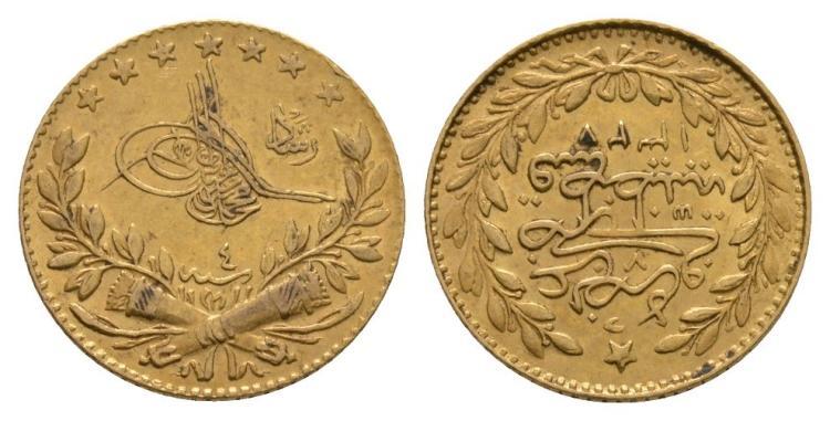 World Coins - Turkey - Mohammed VI - 1327/7 AH - Gold 25 Kurush