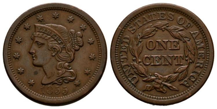 World Coins - USA - 1855 - Braided Hair Cent