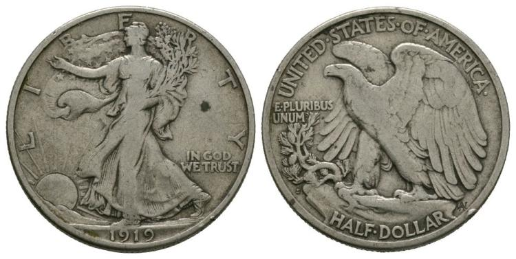 World Coins - USA - 1919 S - Walking Liberty Half Dollar
