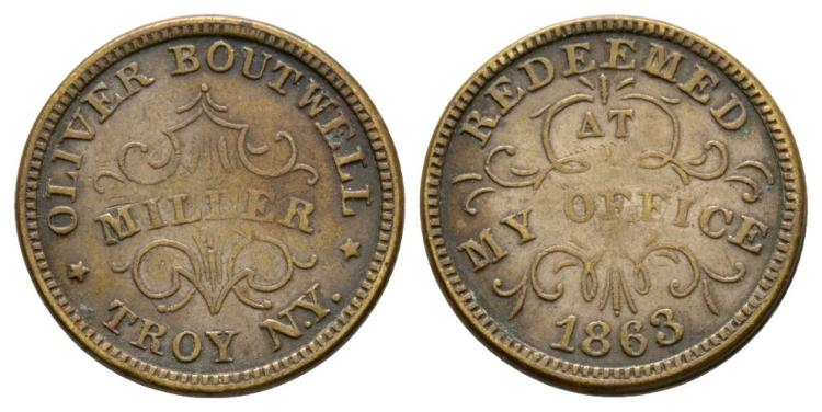World Coins - USA - Oliver Boutwell - 1863 - Token Cent