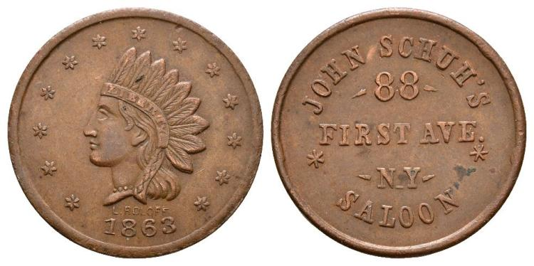 World Coins - USA - John Schuh - 1863 - Token Cent