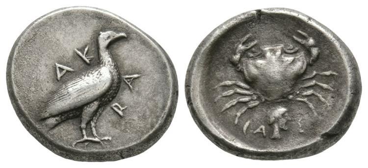 Ancient Greek Coins - Akragas - Crab Didrachm