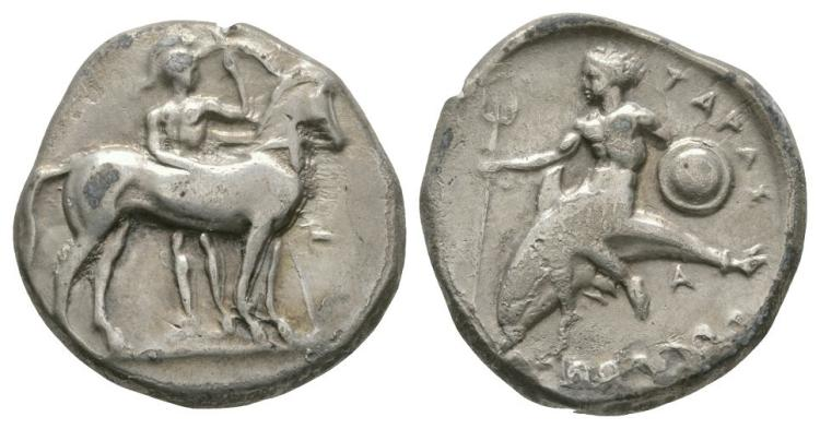 Ancient Greek Coins - Tarentum - Taras on Dolphin Stater