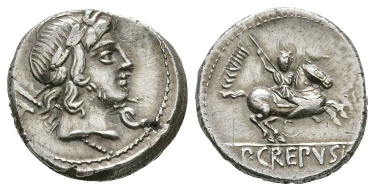 Ancient Roman Republican Coins - P. Crepusius - Horseman Denarius