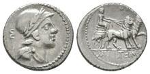 Ancient Roman Republican Coins - M. Volteius M. f. - Cybele Denarius