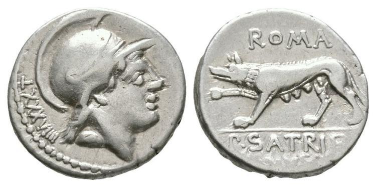 Ancient Roman Republican Coins - P. Satrienus - She Wolf Denarius