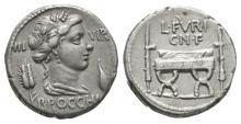 Ancient Roman Republican Coins - L. Furius Cn. f. Brocchus - Curule Chair Denarius