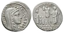 Ancient Roman Republican Coins - L. Aemilius Lepidus Paullus - Concordia Denarius