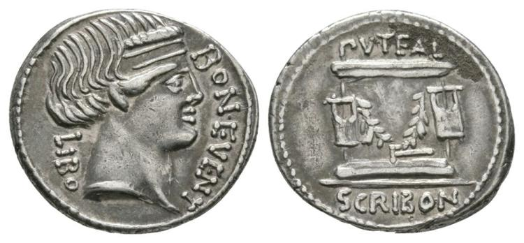 Ancient Roman Republican Coins - L. Scribonius Libo - Puteal Scribonianum Denarius