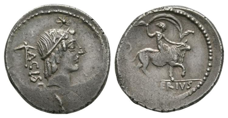 Ancient Roman Republican Coins - L. Valerius Acisculus - Europa on Bull Denarius