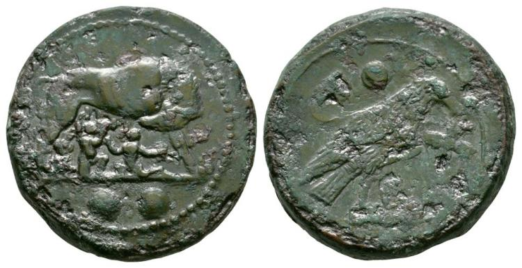 Ancient Roman Republican Coins - Struck Coinage - Pre Reform - She Wolf and Twins Sextans