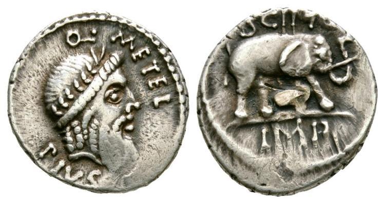 Ancient Roman Republican Coins - Q. Caecilius Metellus Pius Scipio - Elephant Denarius
