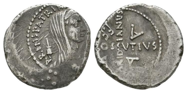 Ancient Roman Republican Coins - Julius Caesar - C Cossutius Maridianus - Veiled Head Denarius
