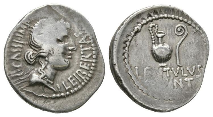 Ancient Roman Imperial Coins - C Cassius Longinus & Lentulus Spinther - Jug and Lituus Denarius