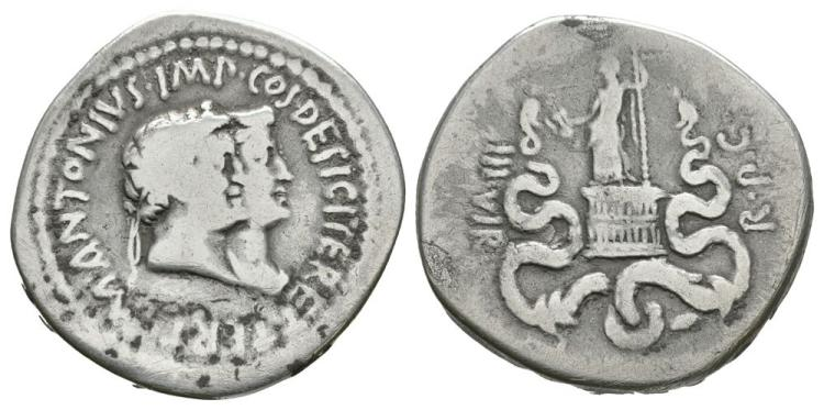 Ancient Roman Imperial Coins - Mark Antony and Octavia - Double Portrait Cistophorus (3 Denarii)