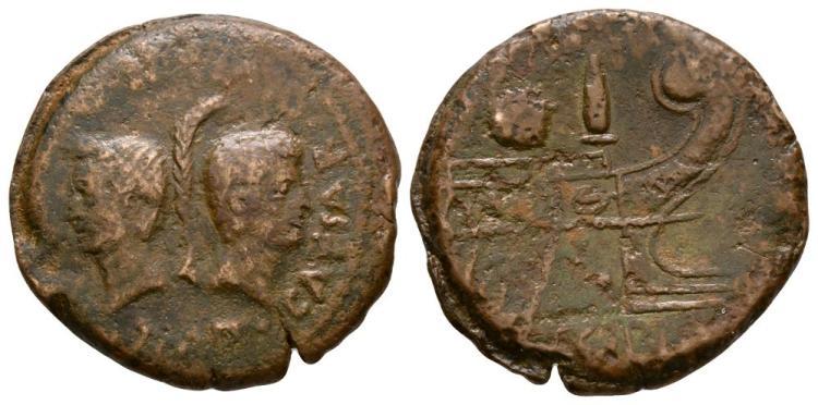Ancient Roman Imperial Coins - Octavian and Divus Julius Caesar - Prow Dupondius