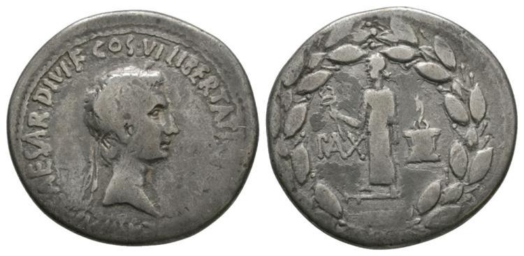 Ancient Roman Imperial Coins - Octavian (later Augustus) - Portrait Cistophorus (3 Denarii)