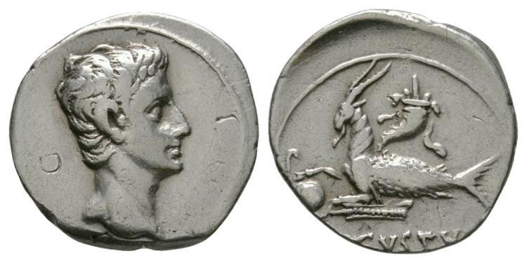 Ancient Roman Imperial Coins - Augustus - Capricorn Denarius