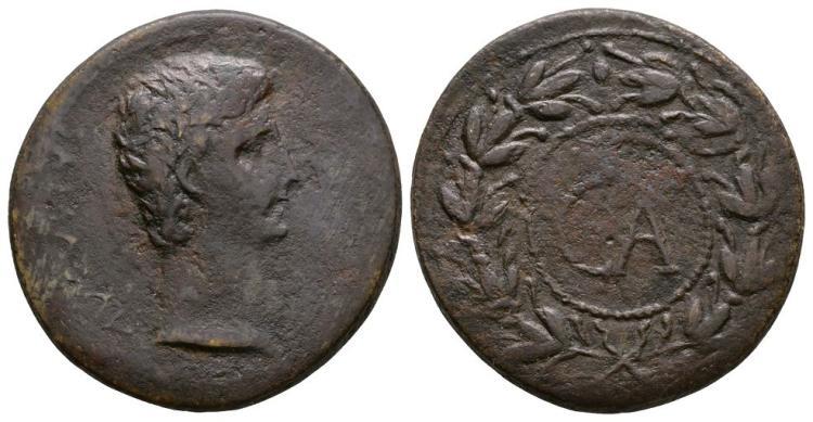 Ancient Roman Imperial Coins - Augustus - Wreath CA Sestertius