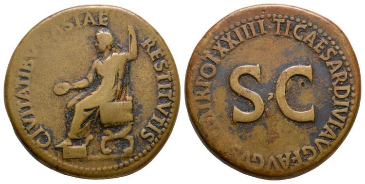 Ancient Roman Imperial Coins - Tiberius - Emperor Seated Sestertius