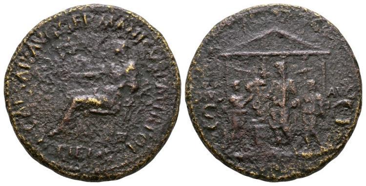 Ancient Roman Imperial Coins - Caligula - Temple Sestertius