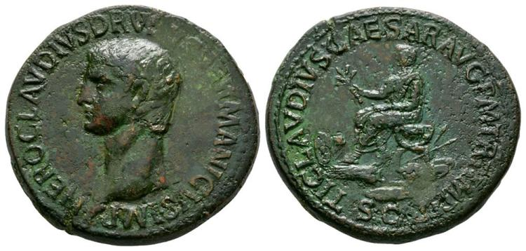 Ancient Roman Imperial Coins - Nero Claudius Drusus (under Claudius) - Drusus Seated Sestertius